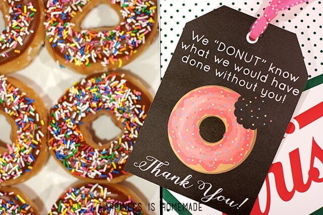 Free Printable: Donut Thank You Gift Tags – Happiness is Homemade - Teacher Gift Ideas featured on Kenarry.com