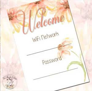 WiFi Network password printable from The Birch Cottage