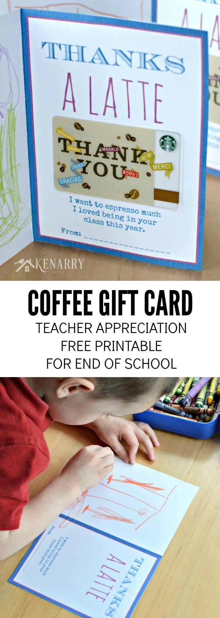 Free Printable Teacher Appreciation Card for the End of School. Attach a coffee gift card and have your child decorate to say