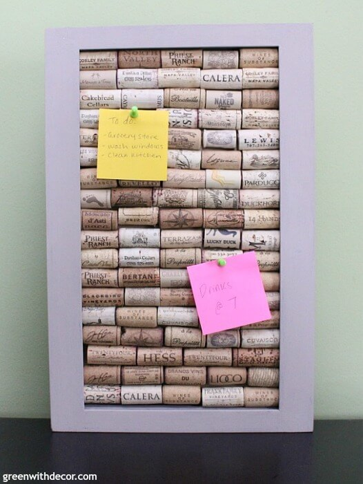 A DIY Bulletin Board made out of wine corks.