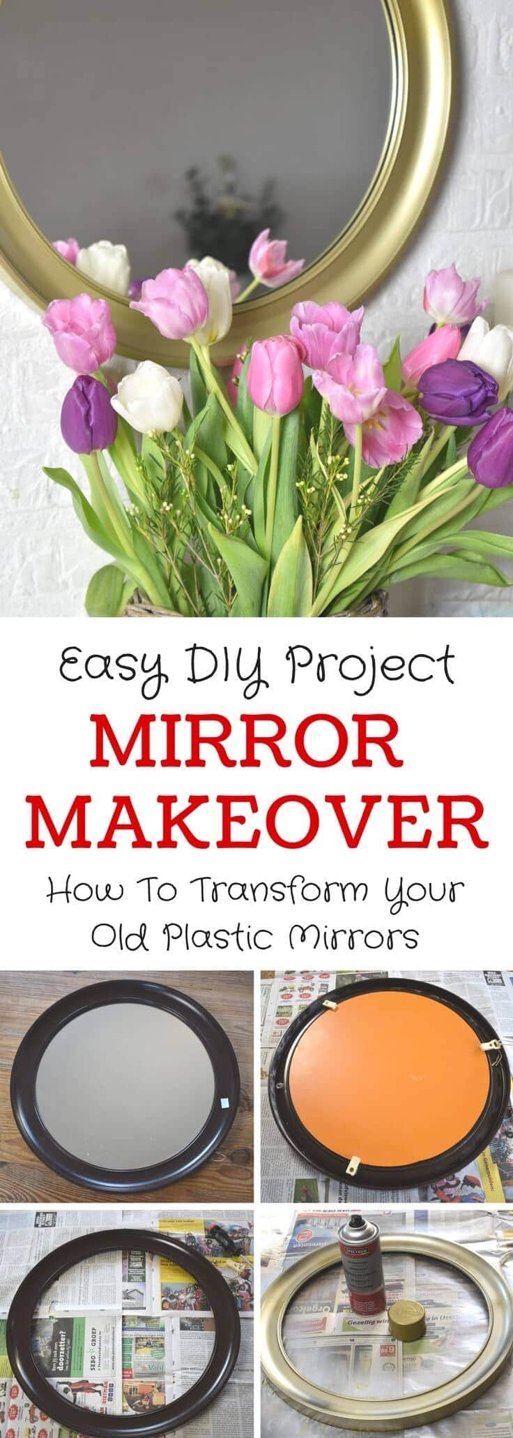Thrift Store Plastic Mirror Upcyle - Learn how to makeover those old ugly plastic mirrors into beautiful and chic home decor idea.