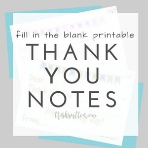 Fill in the Blank Printable Thank You Notes for Kids by Trish Sutton