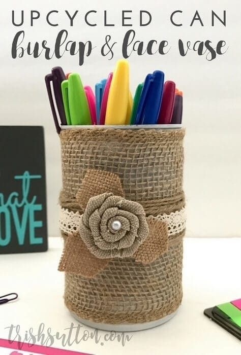 Simple Upcycled Can with Burlap and Lace Vase