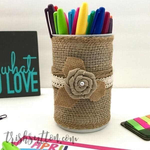 Simple Upcycled Can Burlap and Lace Vase by Trish Sutton