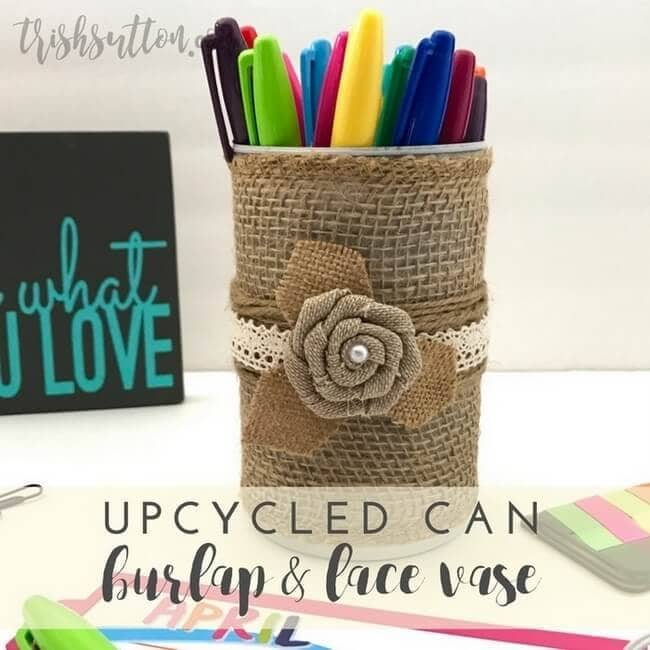 upcycled can using burlap and lace