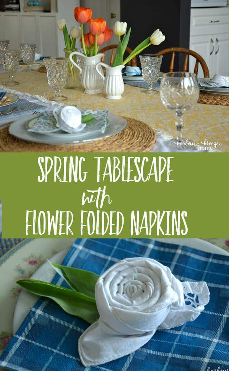 Spring Tablescape with Flower Folded Napkins