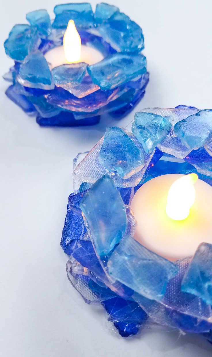 sea glass candle holder