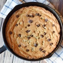 This skillet cookie recipe is quick to throw together for an after dinner treat! Top it with some vanilla ice cream and you have a yummy homemade dessert that the family will love!