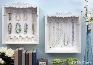 Upcycle wine creates into a shabby chic jewelry display!