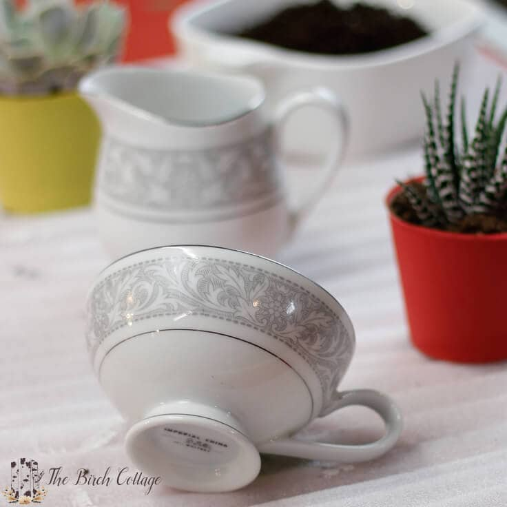 Use repurposed china to make this succulent planter, just in time for Mother's Day.