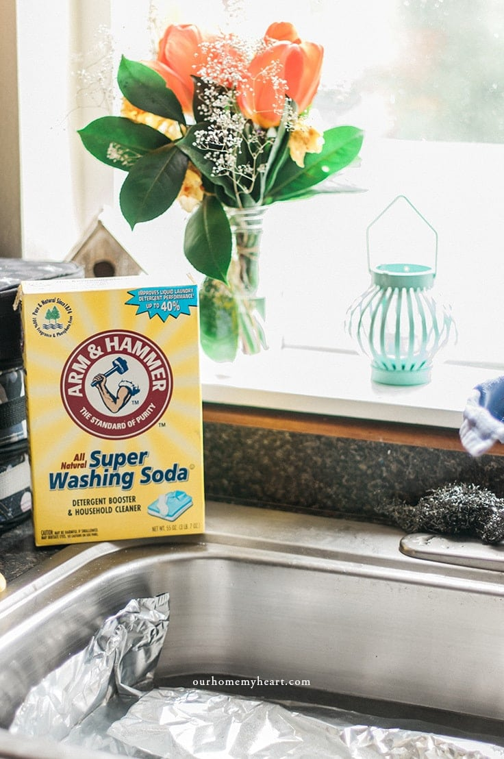 Arm and Hammer Super Washing Soda on the kitchen counter