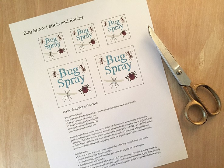 Free printable bug spray labels with the recipe