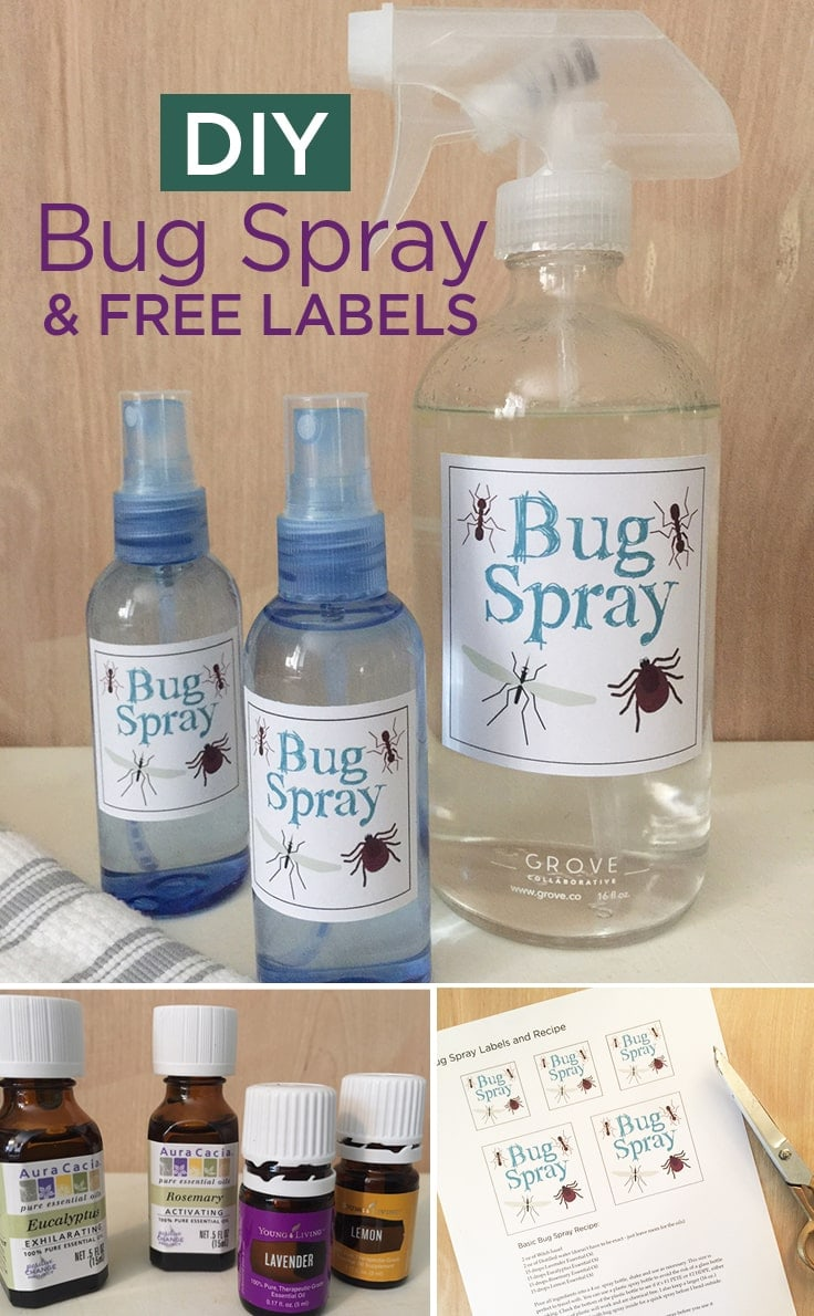 DIY Bug Spray recipe with essential oils and FREE labels