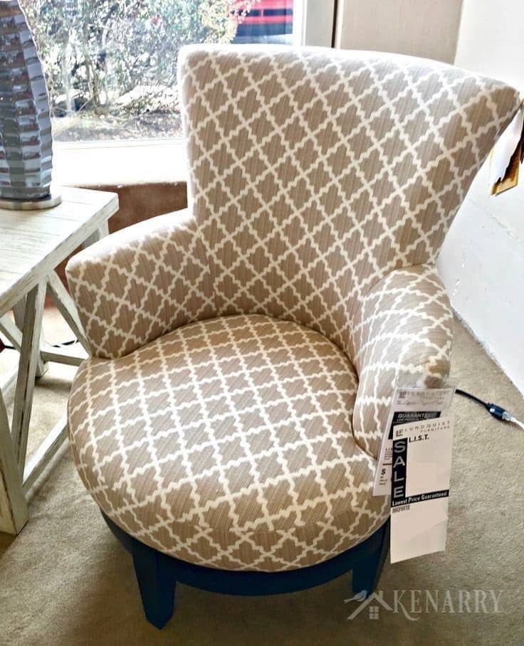 Swivel Chair from Best Furniture selected for new sunroom addition on a renovated cottage