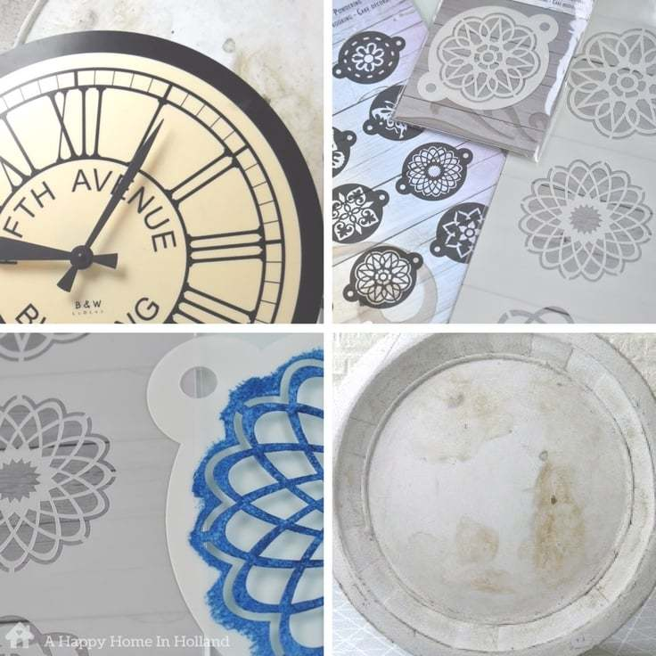 Tutorial showing how to transform an old plastic wall clock using acrylic paint and patterned stencils.