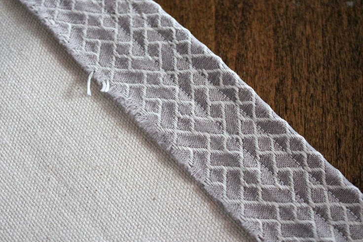 A close-up of the stitches in the valance