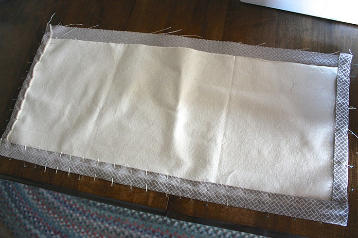 Pinning and folding the fabric for the valance