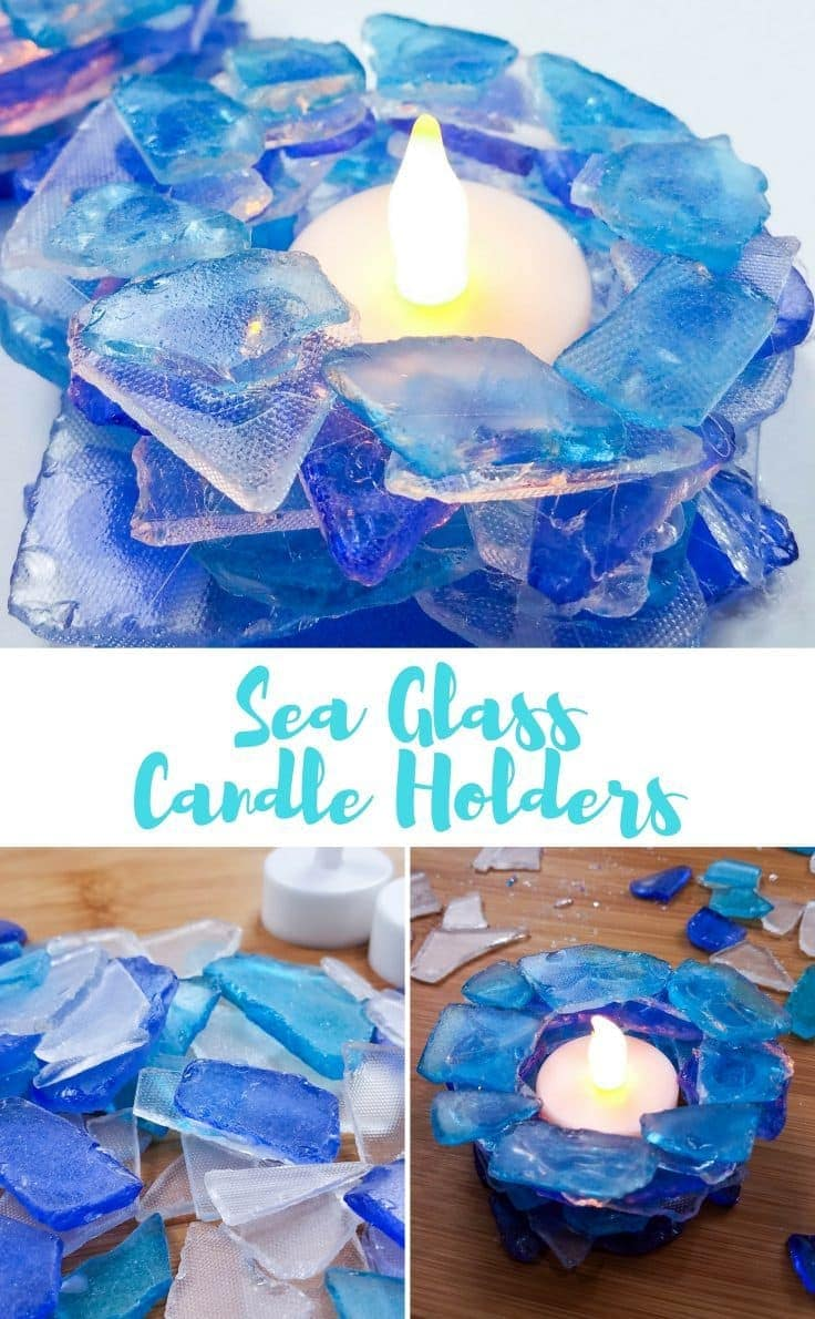 these sea glass candle holders are not only beautiful they are so easy to make if you can wield a hot glue gun you can make these incredible candle - How To Make Sea Glass
