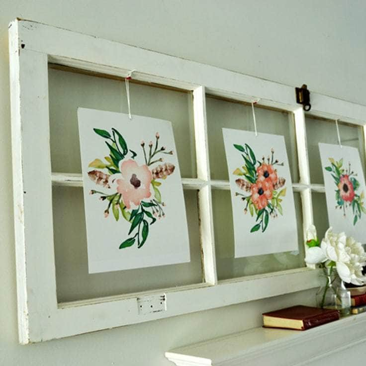 Spring Wall Art Using Free Printables & Old Window