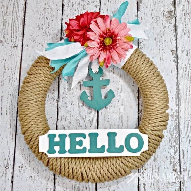 Nautical wreath using sisal rope and an anchor with text Hello.