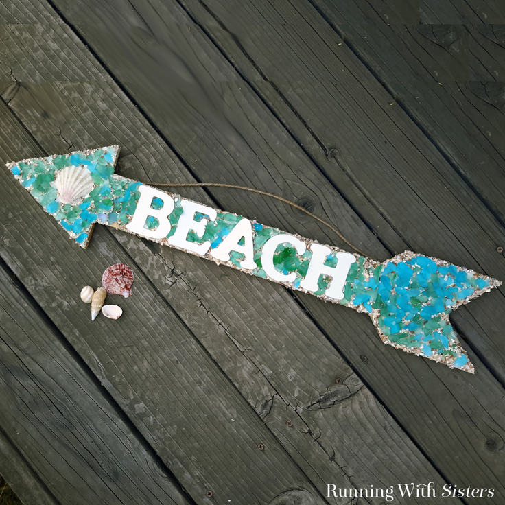 How To Make A Beachy Mosaic Arrow Sign