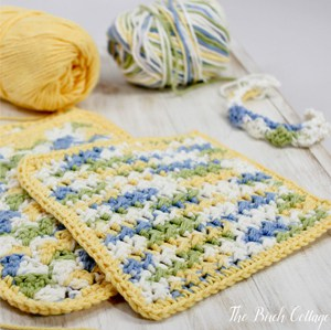 Learn to crochet the Crunchy Stitch Crocheted Dishcloth