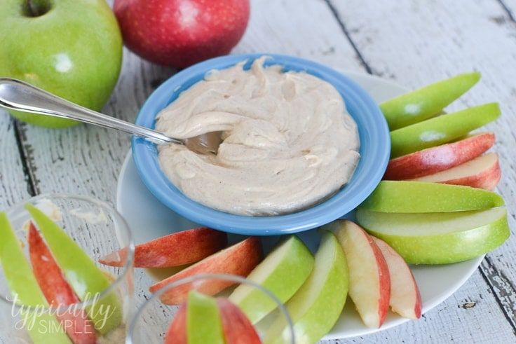 With just a few basic ingredients, this greek yogurt fruit dip is a healthy option to enjoy with fresh fruit!