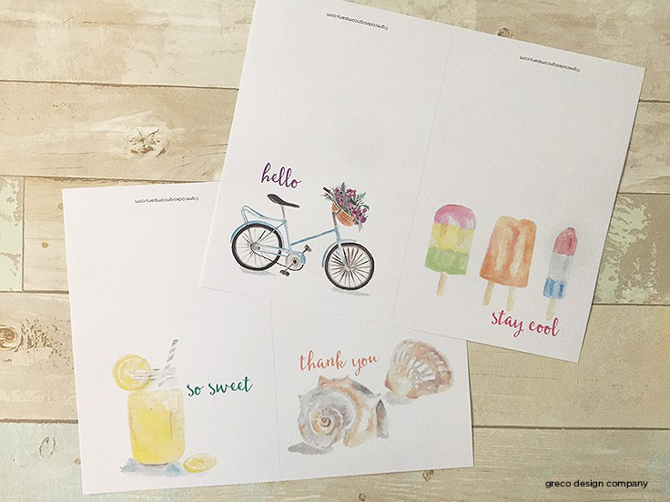 FREE Summer Watercolor Note Cards