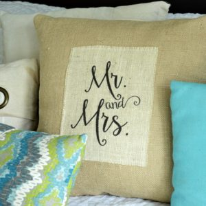"Printed Burlap ""Mr. and Mrs."" Pillow"