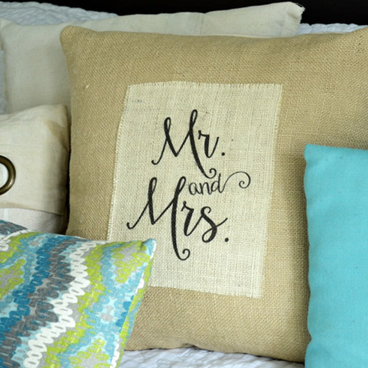 """DIY Printed Burlap """"Mr. and Mrs."""" Pillow"""