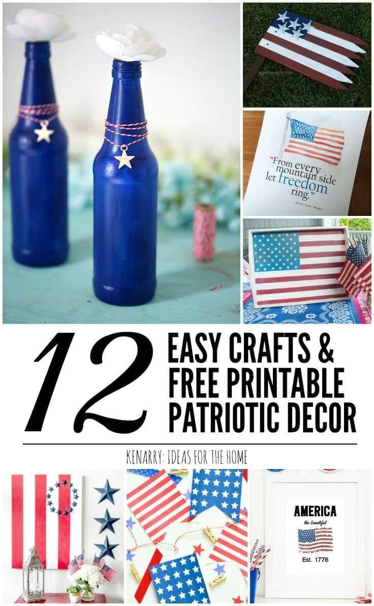 Free Home Decor Ideas | Patriotic Decor Ideas 12 Easy Crafts And Free Printables