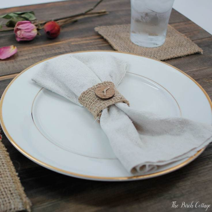 Make a Burlap Napkin Ring from Burlap Ribbon
