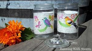 Decoupage glass jars with Mod Podge decoupage medium! We'll show you how to decoupage onto glass. Fun gift idea!