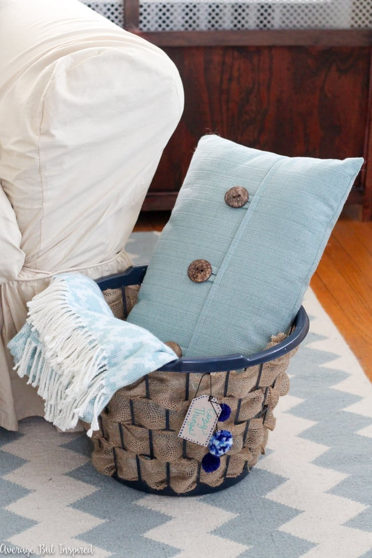 Laundry Hamper to Burlap Basket Upcycle – Average But Inspired -- 12 creative burlap craft projects featured on Kenarry.com