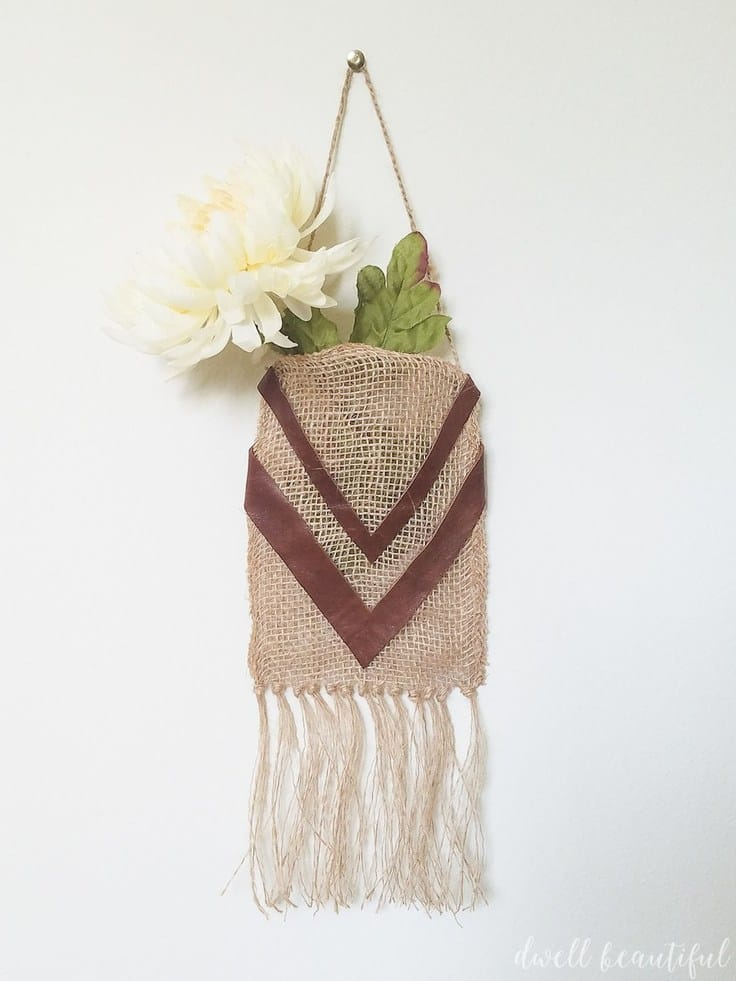 Easy DIY Burlap Ribbon Bohemian Wall Hanging – Dwell Beautiful -- 12 creative burlap craft projects featured on Kenarry.com