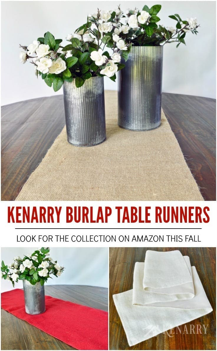 "Burlap table runners by Kenarry are a great way to add farmhouse style to buffets, dining tables, entertainment centers and television consoles, coffee tables, holiday decorating and more. The collection includes 14"" x 84"" table runners in red, cream or natural burlap, each sold separately on Amazon. Each one is lined with fabric and has sewn edges to provide high quality, long lasting durability that won't unravel before your big event or dinner party."