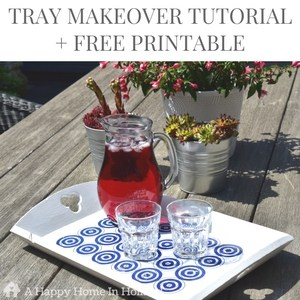 DIY tray makeover - easy tutorial showing you how to upcycle old wooden trays in to modern home decor accents using just a little paint, some mod podge and free printable
