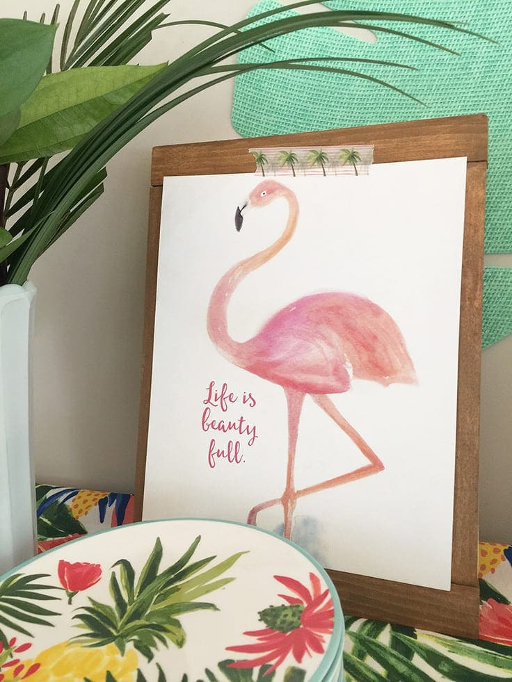 Beautiful watercolor flamingo art print