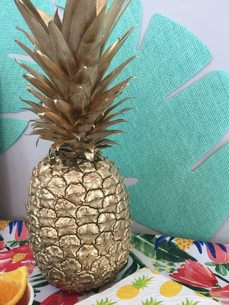 spray painted gold pineapple for easy party decor