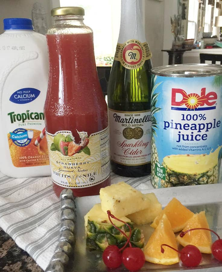 Tiki Punch Recipe ingredients for a Tropical Themed Party