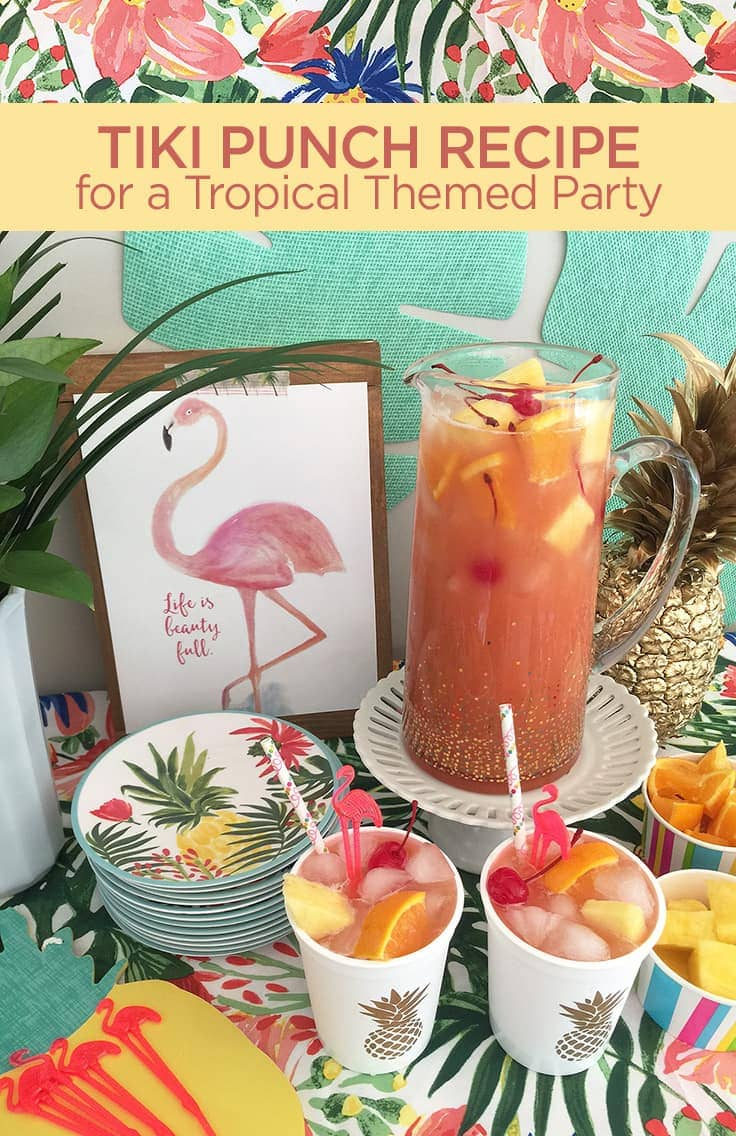 This trendy summer pink fruit punch is a fun, easy-to-make non-alcoholic beverage. It's perfect for a kid's luau birthday party, or add some rum for an adult-only alcoholic drink. #summerdrink #fruitpunch #kenarry