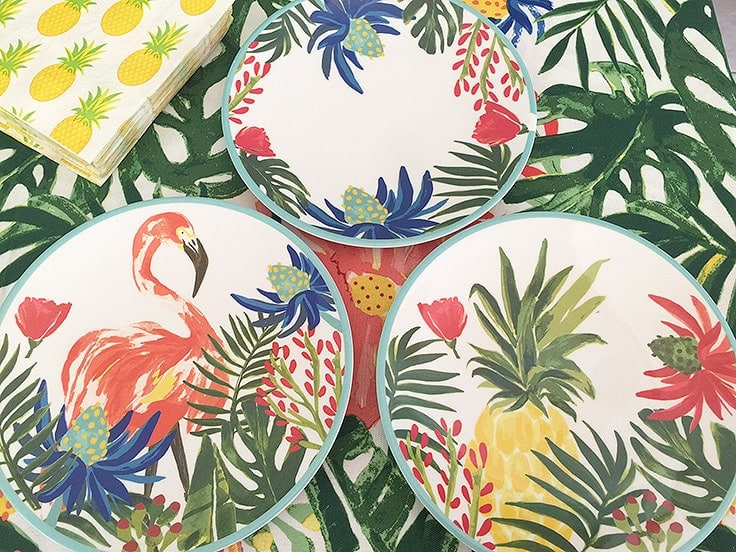 Tropical decorated plastic plates from Target