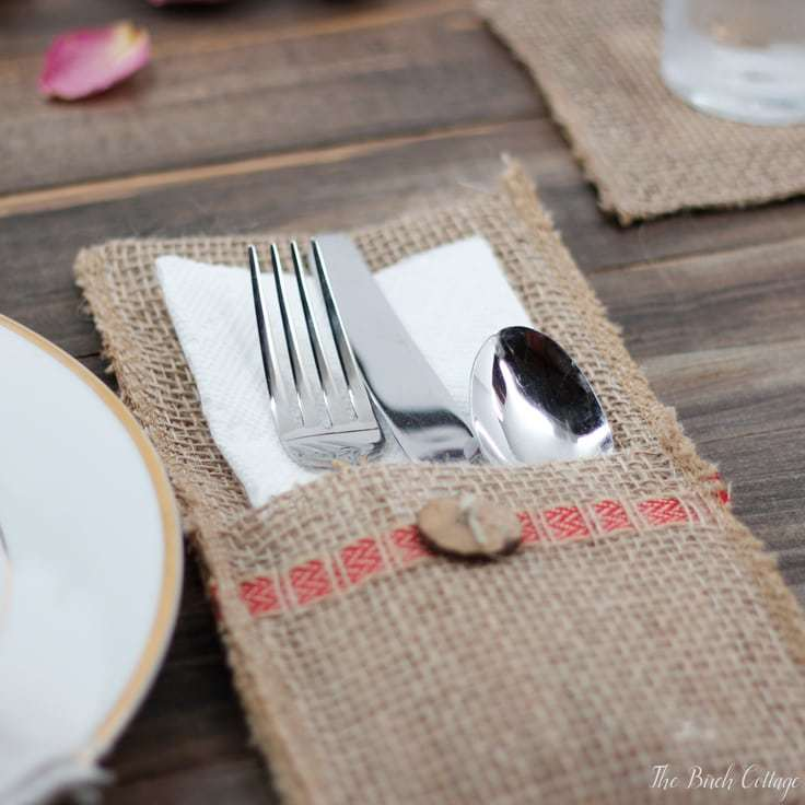 Make a Burlap Utensil Holder from Burlap Ribbon
