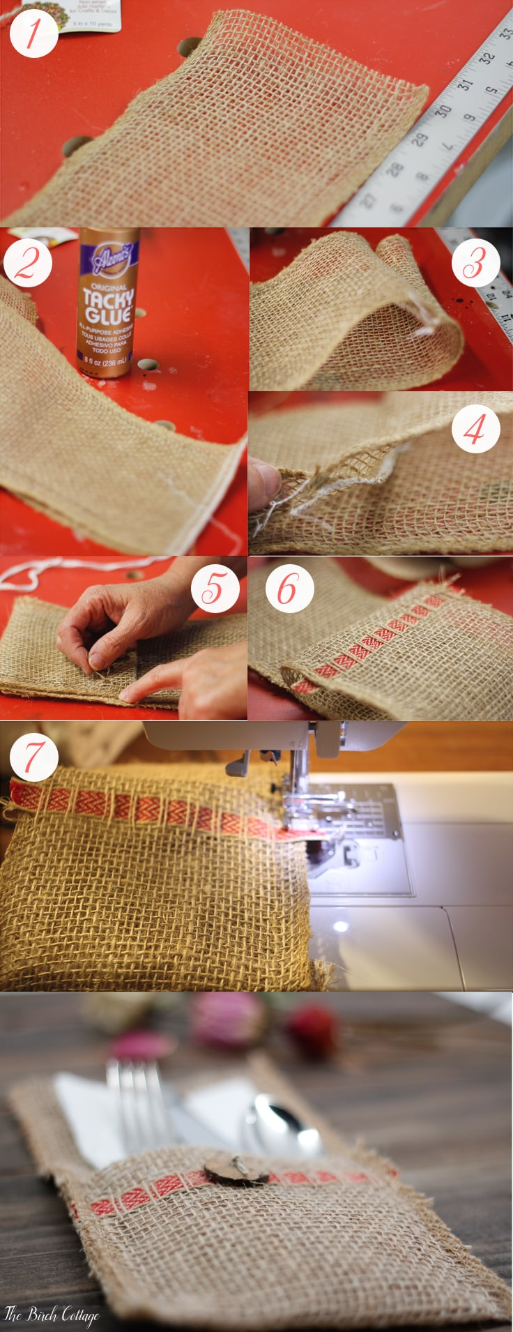 Make a burlap utensil holder from burlap ribbon for a for How to use burlap ribbon