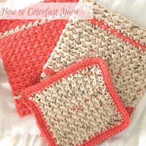 How to colorfast yarn so your colors don't bleed. Get the full details from The Birch Cottage blog.