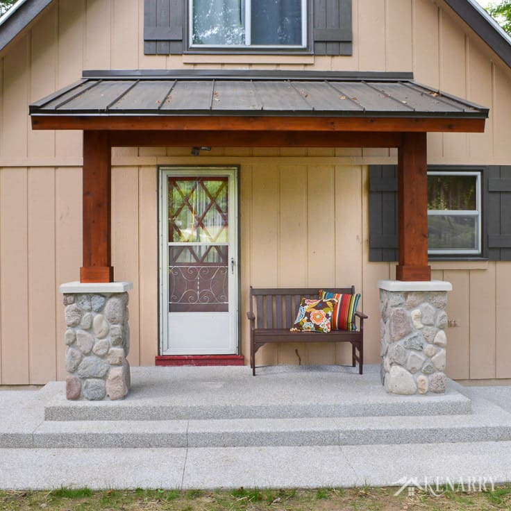 Craftsman style front porch for an a frame cottage for Craftsman style front porch