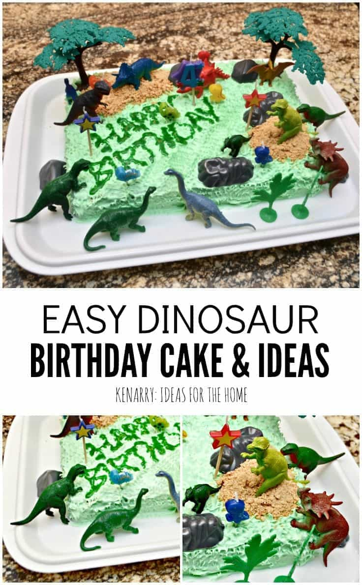 What a cute and super easy idea for a dinosaur birthday cake! My child would love the other clever Jurassic or dinosaur party ideas too.
