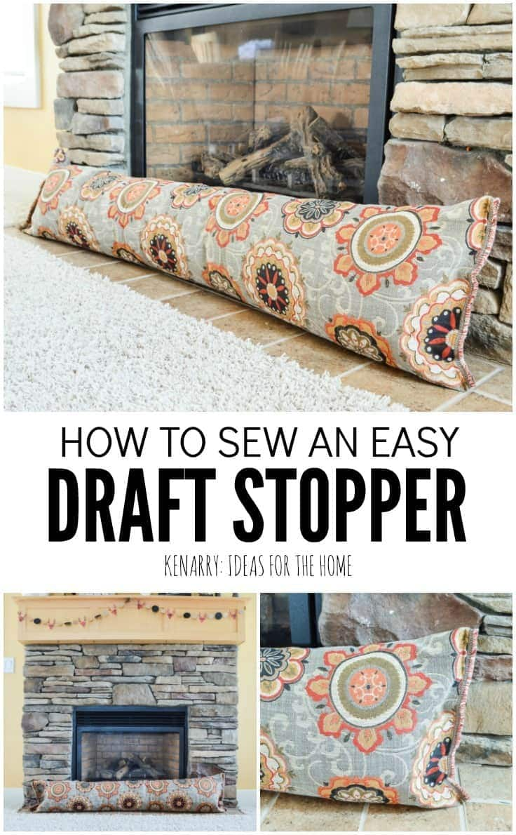 This easy sewing tutorial will teach you how to make a fireplace draft stopper. This simple DIY idea uses a body pillow and will help save heating costs and block cold air this winter. draft stopper | draft protector | draft excluder | door draft blocker