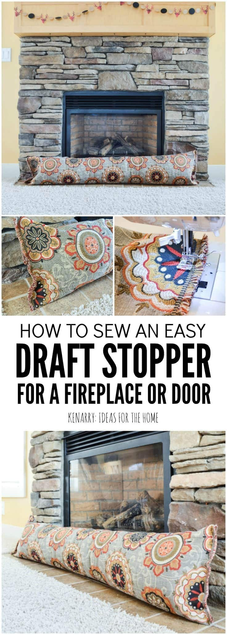 Keep cold air from coming into your home this season. In this easy sewing tutorial, you will learn how to make a fireplace draft blocker. This simple DIY draft stopper idea will help you stay warm and save on heating costs this winter. draft stopper | draft protector | draft excluder | door draft blocker