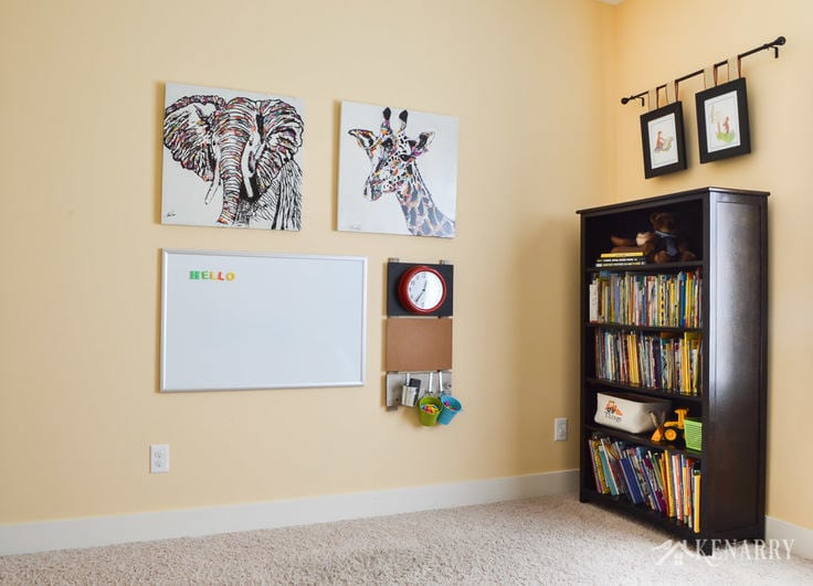 playroom wall decor make a gallery wall for kids. Black Bedroom Furniture Sets. Home Design Ideas